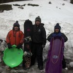me n my 3 boys on PALM SUNDAY MT.SHASTA