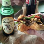  BurgerFi Cheeseburger with Bacon and a Yuengling!