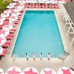Pool with towels, umbrellas and loungers at Congress Hall. Seasonal poolside service available.