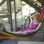 "Hanging out in the hammock in the ""lounge"""