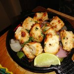 Chicken cubes marinated in cashew paste & herbs....mmmm...