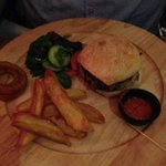 Burger and Chips.  Should have put something in picture to show relative size. It wasn't small!