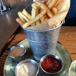 duck fat fried fries with 3 dipping sauces - very good