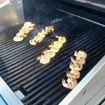  Grilling the shrimp skewers from the grill packs.