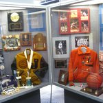 One of the many display cases with basketball artifacts