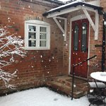 Tolkien cottage in the snow