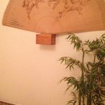 Large fan decoration & bamboo planter in the Japanese suite