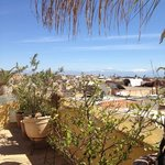  View from the roof terrace showing the Atlas Mountains in the background covered in snow