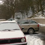car park in the snow