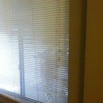 The only window treatment was a set of cheap plastic blinds allowing peep shows from either side