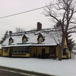 The front of the pub on a snowy January morning