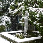 Courtyard statue in the snow
