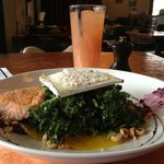 The best kale salad EVER- topped here with the option of great seared salmon