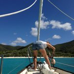 Picking up a mooring in beautiful St John