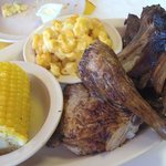  Barbq chicken and ribs with great Mac an cheese