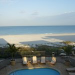 view of pool and beach from balcony of 216, corner unit just behind the gulf front suites