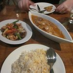  Chicken and cashew nuts, massaman curry and egg fried rice