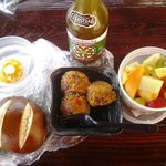 Crab-stuffedMushrooms, fresh fruit salad, goat-cheese stuffed pepper, pretzel roll, green tea