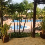 Pool area, with sun lounges, lap lanes, bar, restaurant looking onto pool, great atmosphere.