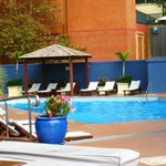  great heated outdoor pool with views of the city