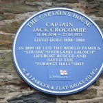 Captain Jack Crocombe's Blue Plaque on the wall of hotel