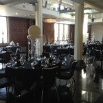 View of the wedding reception area table layout