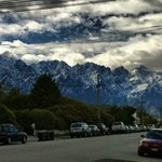 The stunning views of the Remarkables as you come out of the complex