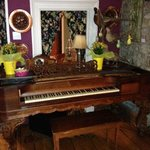 a piano in the dinning room
