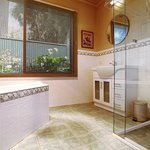 Large double spa bath in the Yarra Valley cottage bathroom