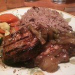 canajun pork chops with rice & veggies