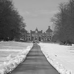 Soughton Hall in the snow
