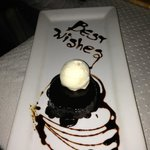 our last dessert: a lovely treat for costumer loyalty by the chef and our wonderful waitress,Cah