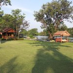 View of the bungalows, sitting areas and the River Kwai