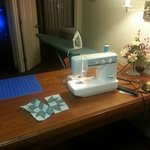 I brought my sewing machine, just like at home.