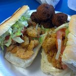 Shrimp Po' boy 'dressed' (lettuce, etc) and a few hush puppies