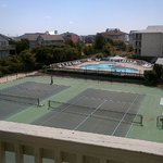 overlooking tennis courts (which were pretty nice and maintained) and clover pool