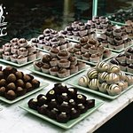 Hand-decorated truffles on display at the Factory store.