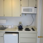  sink, stove and small refrigerator,microwave