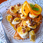 Orange Chocolate Chip Waffles with Caramelized Bananas