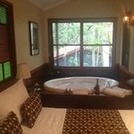  Huge king size bed plus two person spa.