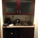microwave oven, coffee maker, sink & cabinets