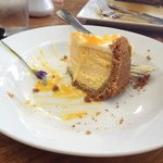 passion fruit cheesecake half way to finish