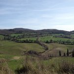 View of Val D'orcia half-way to Pienza