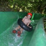 Alex loved the very FAST concrete slide. You definitely need the helmet!