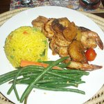 Junkanoo Shrimp (with plantains and grilled pineapple)