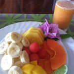 Typical fruit plate at Villa Decary - YUM!!