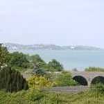 View over the bay and the steam railway viaduct