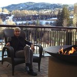 Outdoor fire pits looking over pool, hot tubs and Beaver Creek mountain