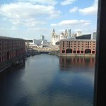 view from hotel room overlooking the dock and looking towards the Liver building