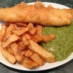Small haddock, chips and mushy peas